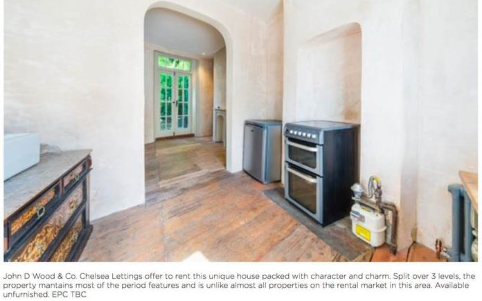 "A Rental Ruin – Chelsea estate agent optimistically markets an £850 per week house with unpainted walls and an exposed gas meter by announcing: ""It does have a new boiler"" – 62 Christchurch Street, Chelsea, London, SW3 4AR, United Kingdom – To rent through John D. Wood & Co. for £850 per week ($1,108, €955 or درهم4,070 per week)."